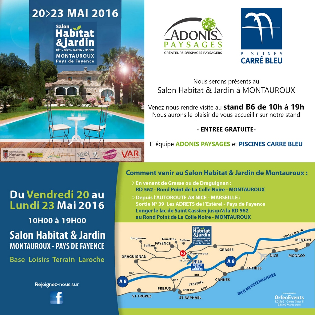 Mai 2016 salon habitat jardin adonis paysages for Salon du jardinage 2016