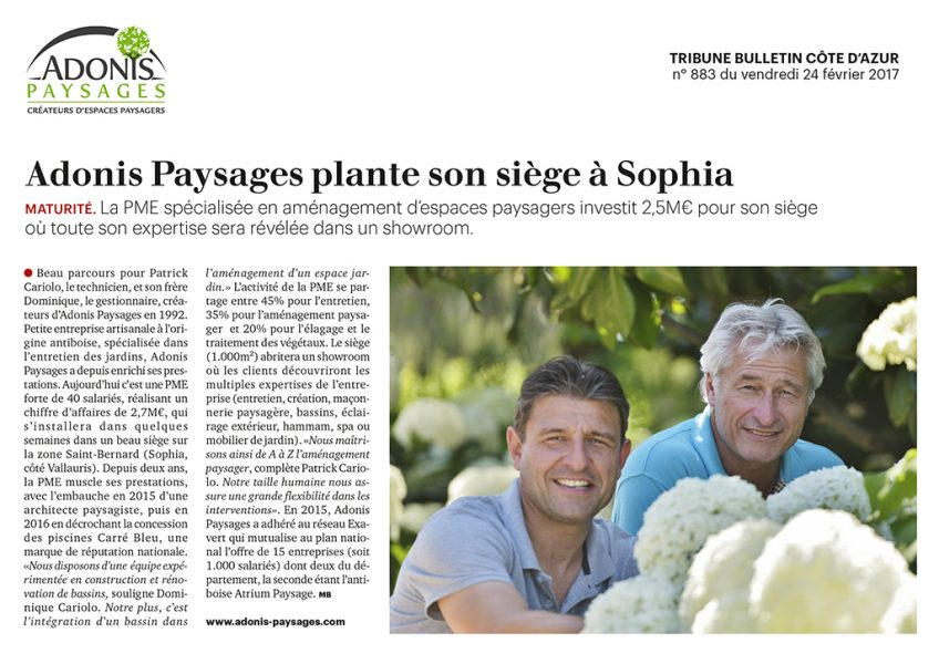 Article LA TRIBUNE PACA du 24/02/2017